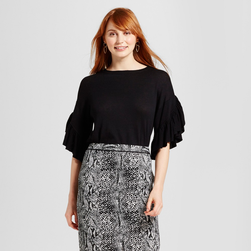 Womens Frill Sleeve Sweater - Who What Wear Black XS