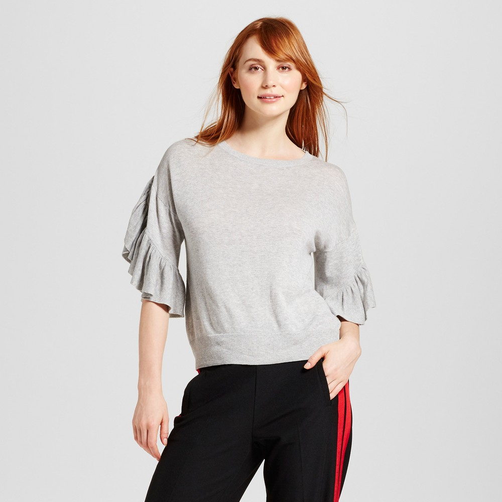 Womens Frill Sleeve Sweater - Who What Wear Gray L