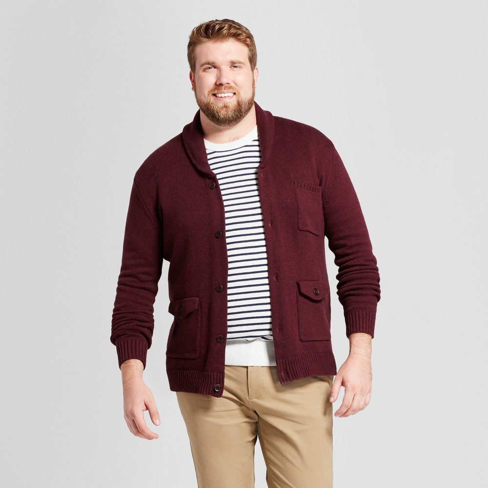 Mens Big & Tall Shawl Pocket Cardigan - Goodfellow & Co Burgundy (Red) 2BX, Size: 2XB