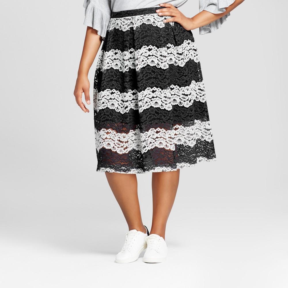Womens Plus Size Lace Midi Skirt - Who What Wear Black/White Stripe 26W