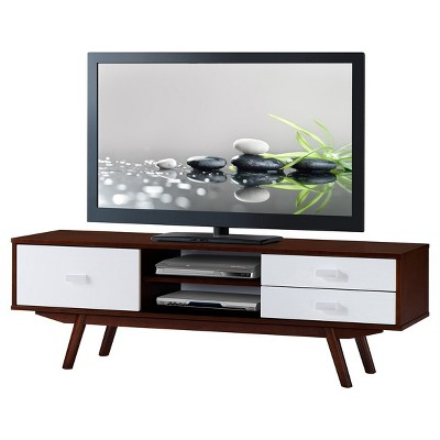 Retro wood veneer 65 tv stand with storage walnut for Center mobili outlet