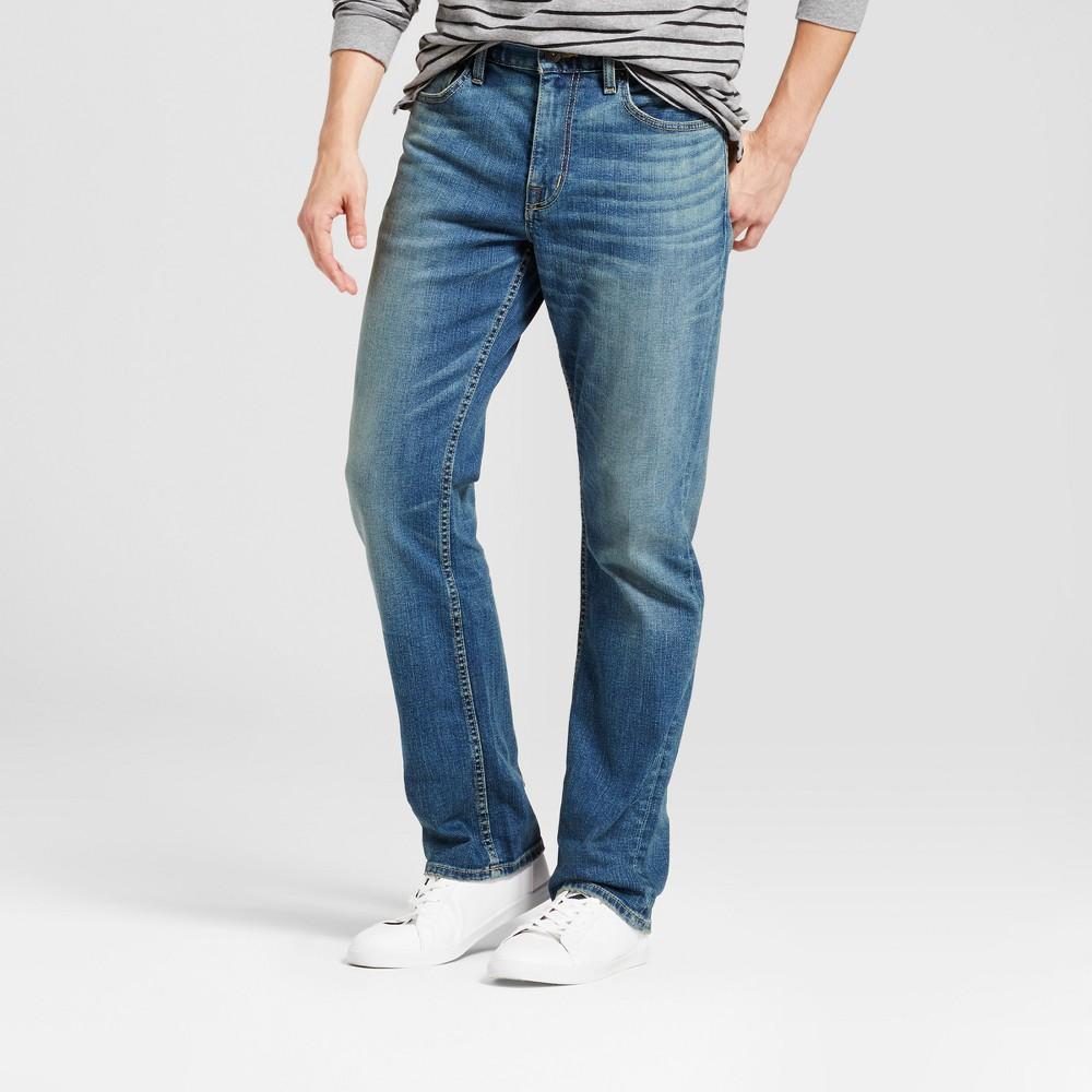 Mens Straight Fit Jeans - Goodfellow & Co Medium Wash 42x32, Blue