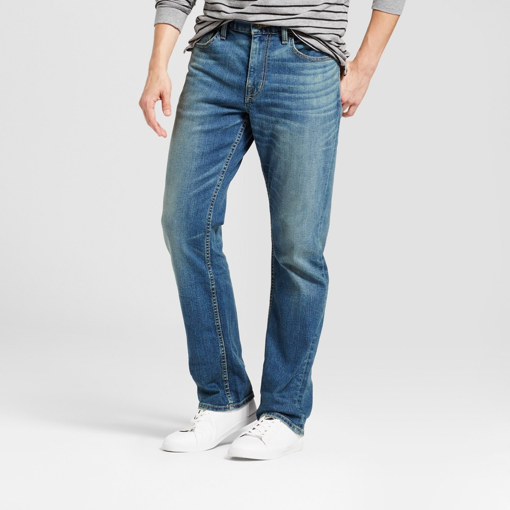 Mens Straight Fit Jeans - Goodfellow & Co Medium Wash 30x30, Blue
