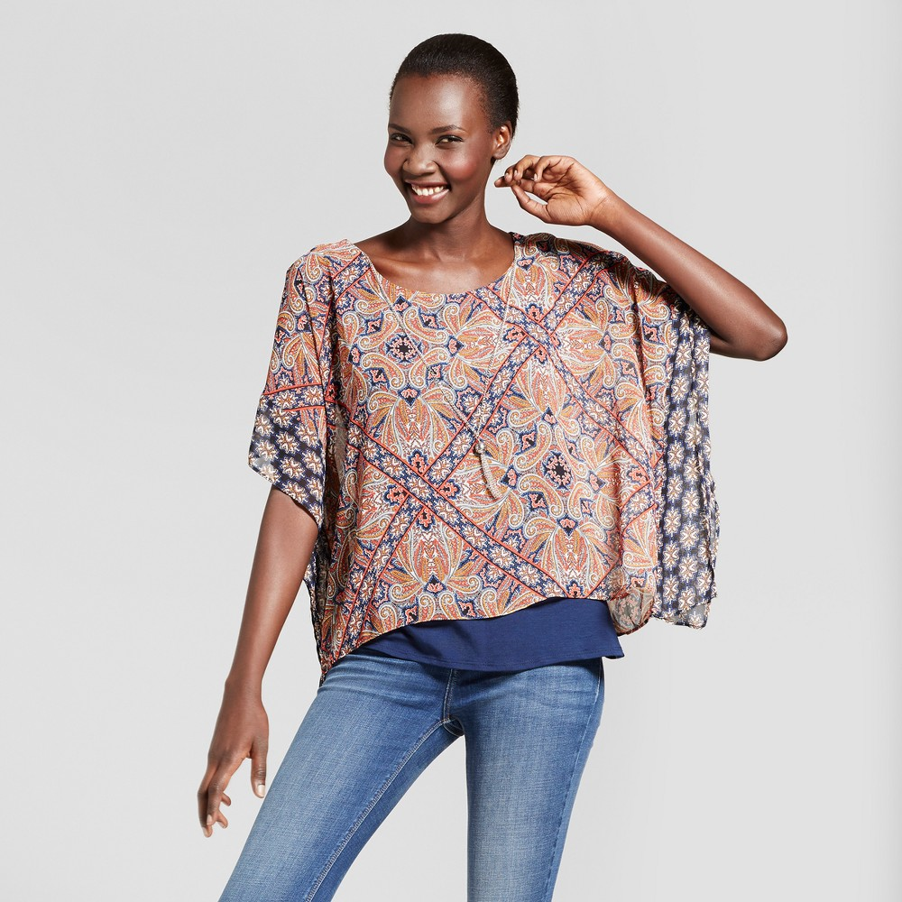 Womens Printed V-Neck Woven Blouse - Zac & Rachel Red/Navy L, Blue