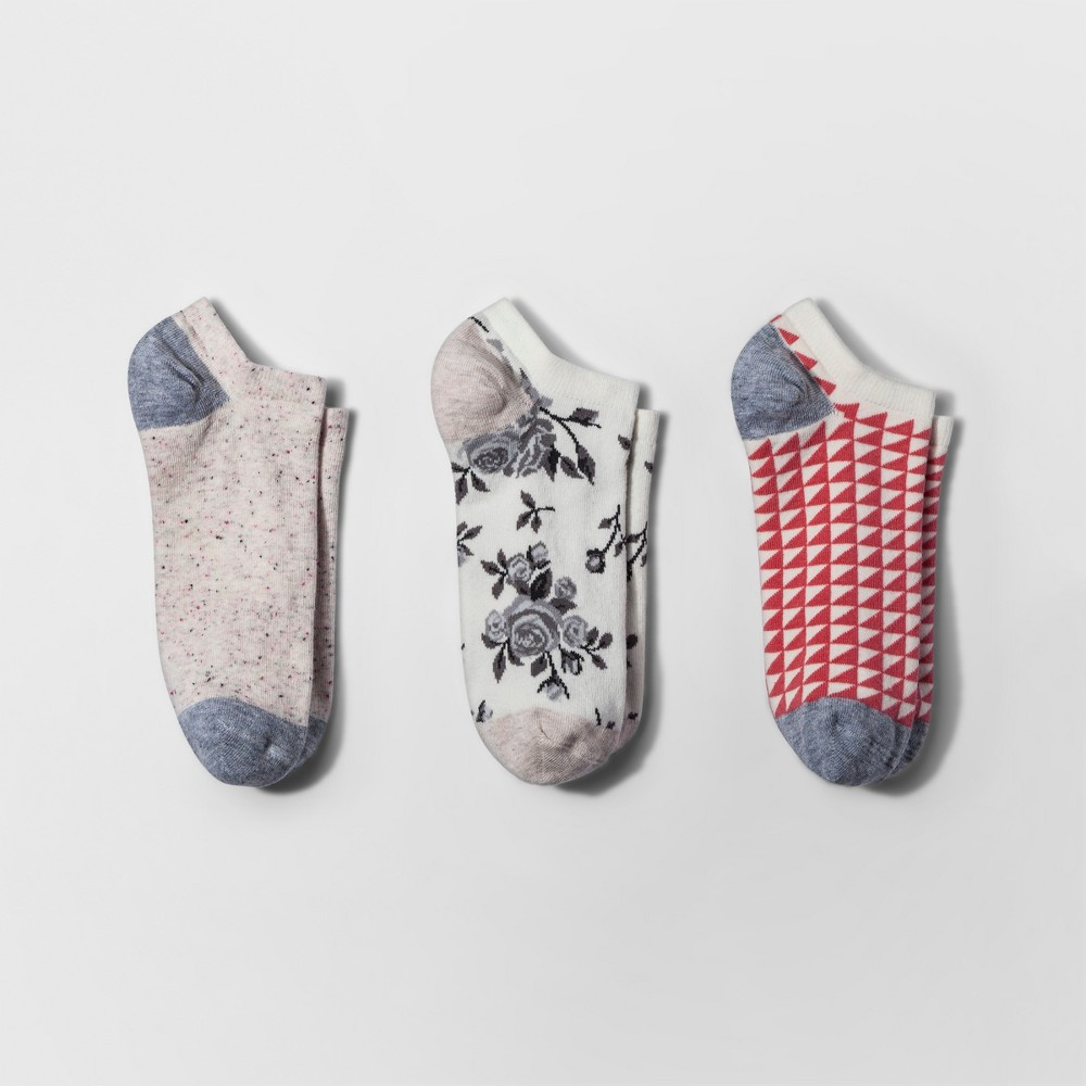 Womens 3pk Low Cut Socks - A New Day Ivory Floral One Size, Multi-Colored