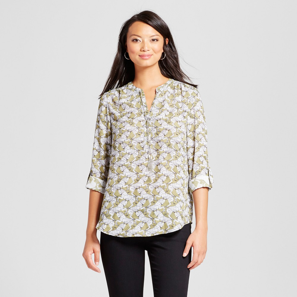 Womens Rolltab Sleeve Zebra Printed Blouse - Zac & Rachel Olive Black XL, Green
