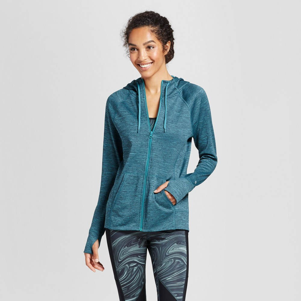 Womens Tech Fleece Full Zip Hoodie - C9 Champion Foggy Ocean Teal (Blue) Heather L