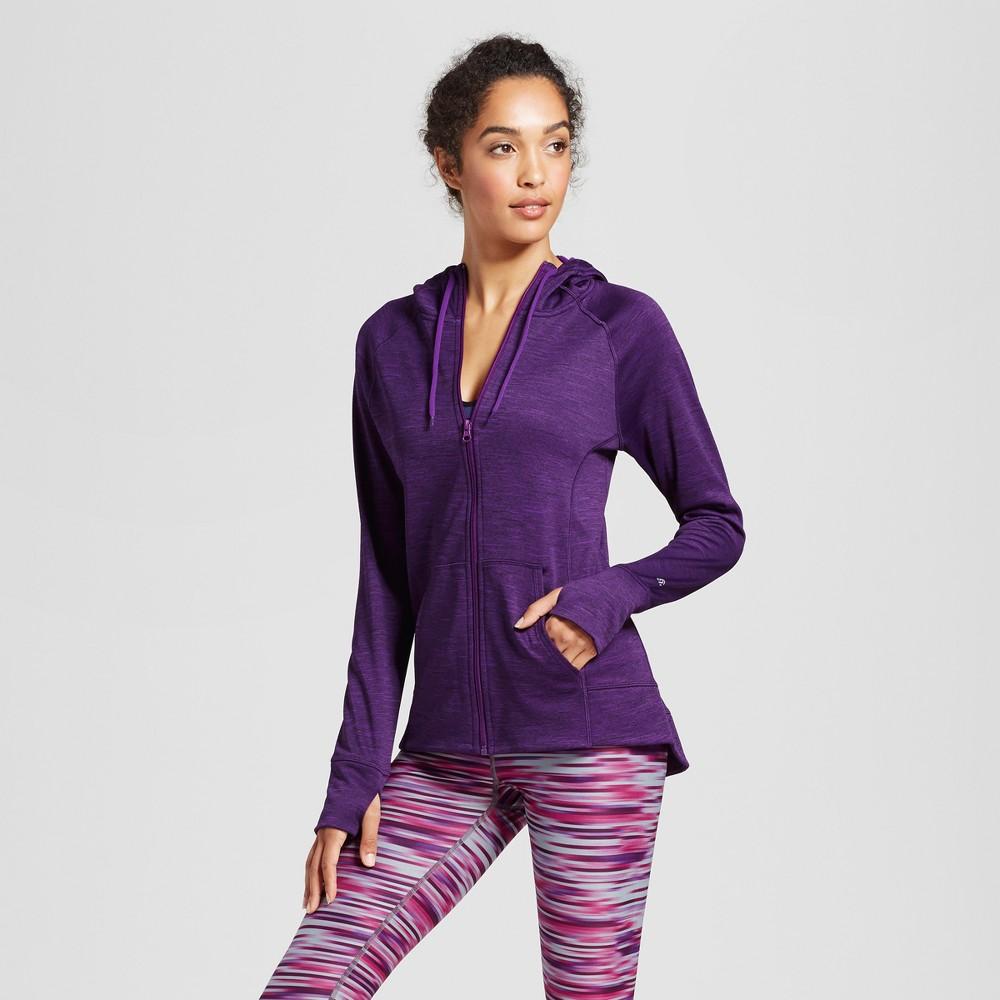 Womens Tech Fleece Full Zip Hoodie - C9 Champion Grape (Purple) Splash Heather L