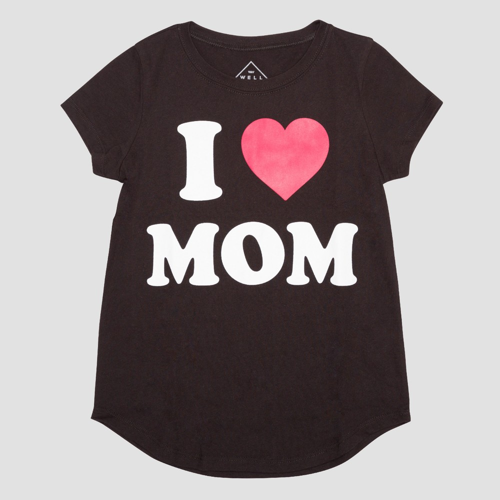 Girls I Heart Mom Short Sleeve T-Shirt - Black S