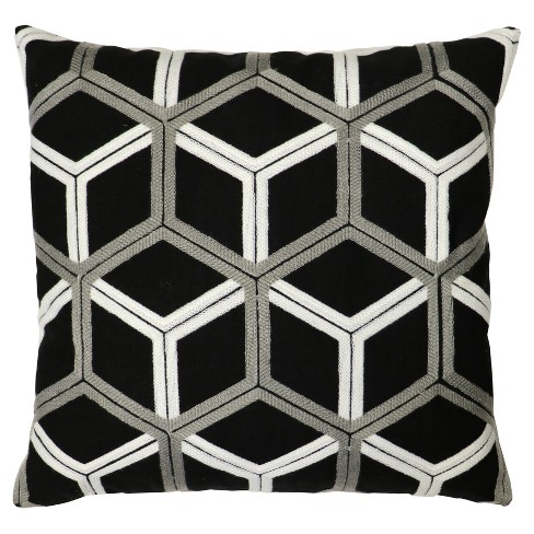 "Black/Gray Lattice Throw Pillow (18""x18"") - Lush Décor - image 1 of 4"