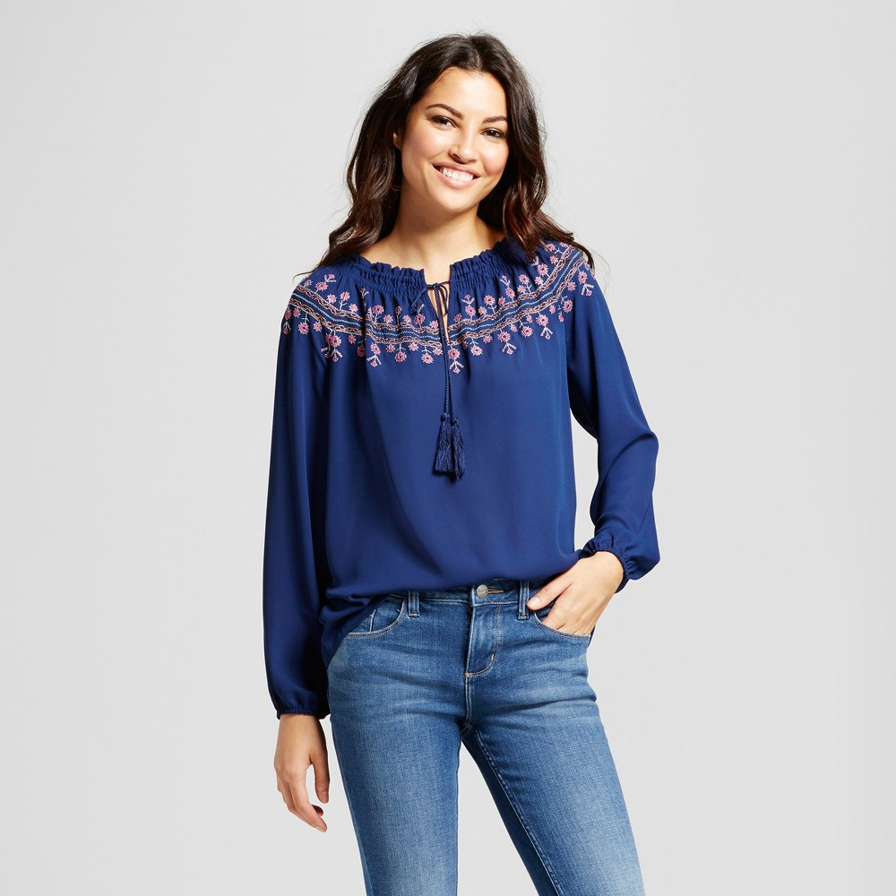 Womens Long Sleeve Peasant Top with Embroidered Neck - Zac & Rachel Navy Combo S, Blue