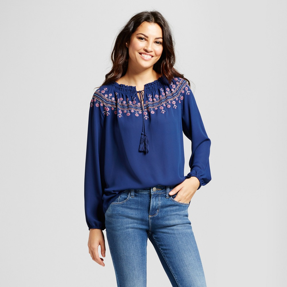 Womens Long Sleeve Peasant Top with Embroidered Neck - Zac & Rachel Navy Combo L, Blue