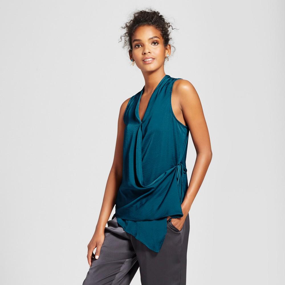 Womens Asymmetrical Sleeveless Wrap Top - Mossimo Teal (Blue) Xxl