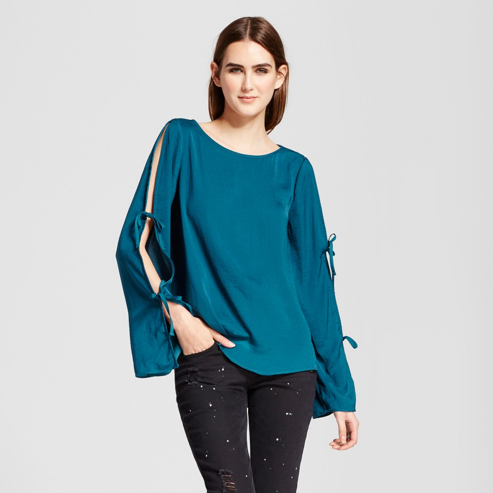Womens Long Sleeve Blouse with Sleeve Ties - Mossimo Teal L, Blue