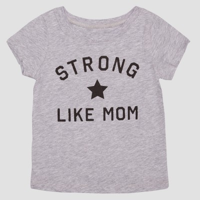 Toddler Girls' Strong Like Mom Short Sleeve T-Shirt - Heather Gray 12M
