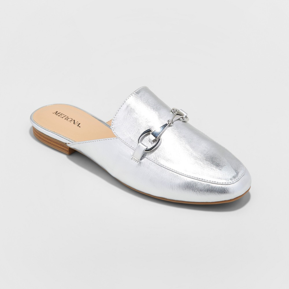 Womens Kona Backless Mule Loafers - Merona Silver 6