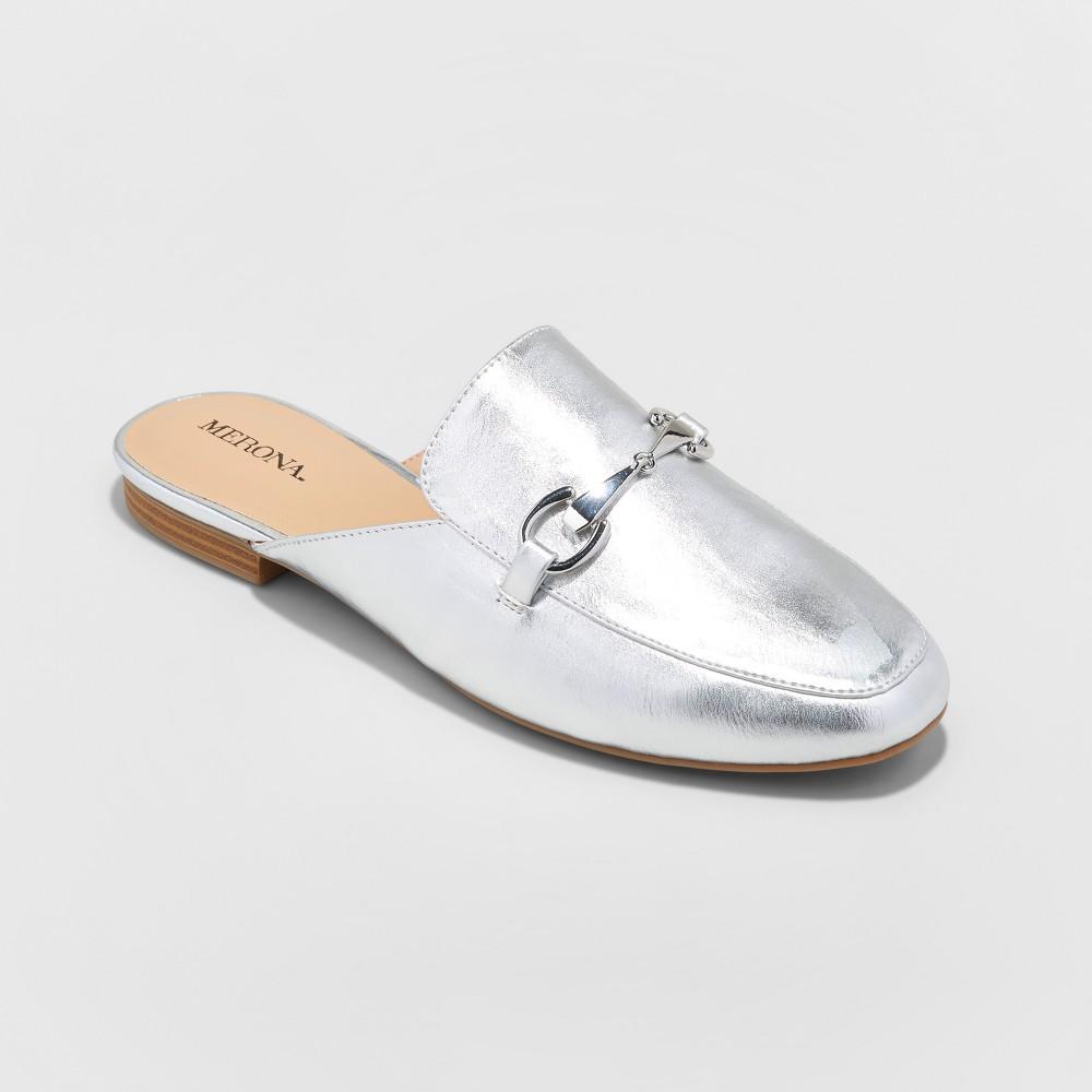 Womens Kona Backless Mule Loafers - Merona Silver 11