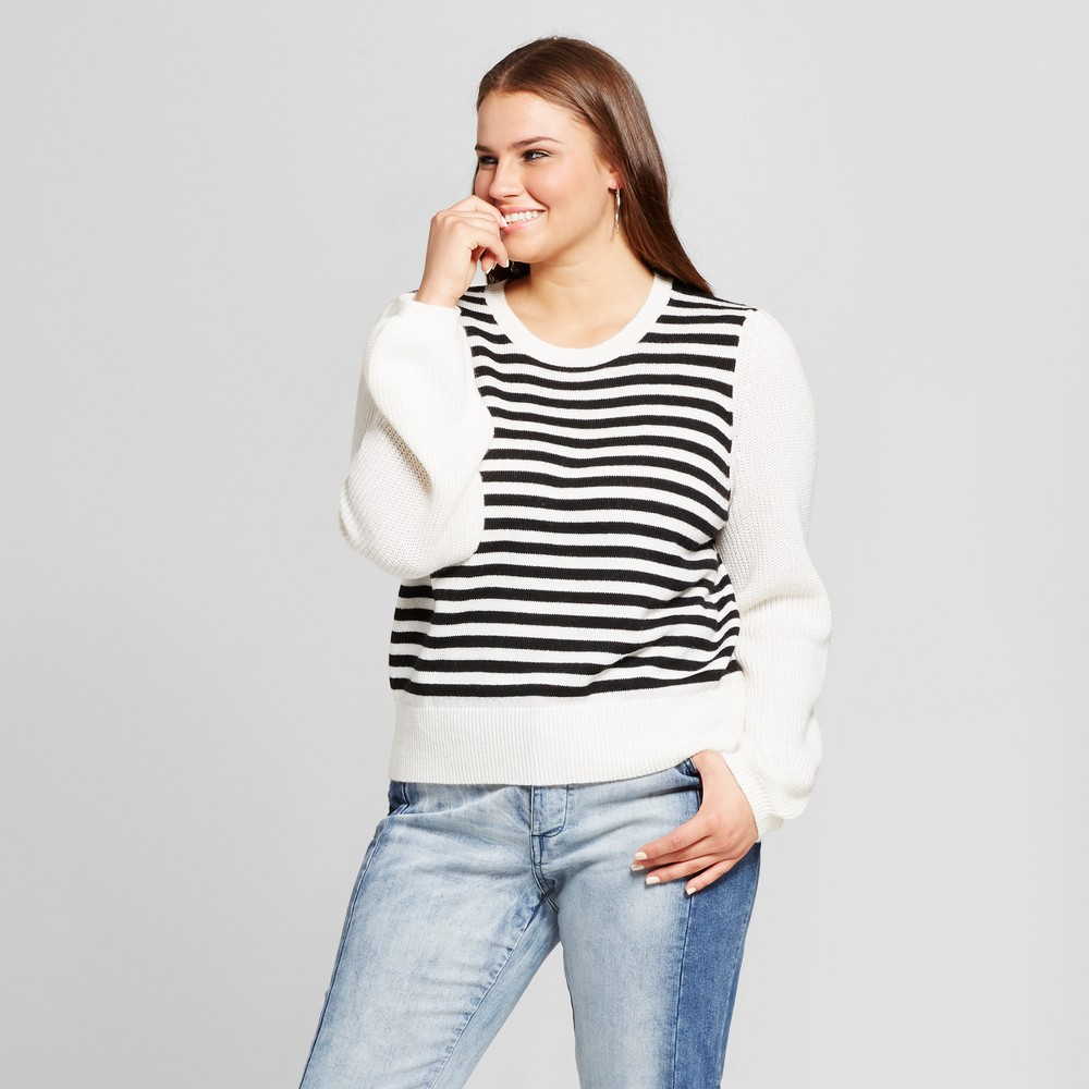 Womens Plus Size Cozy Striped Crew Sweater - Who What Wear White/Black 2X