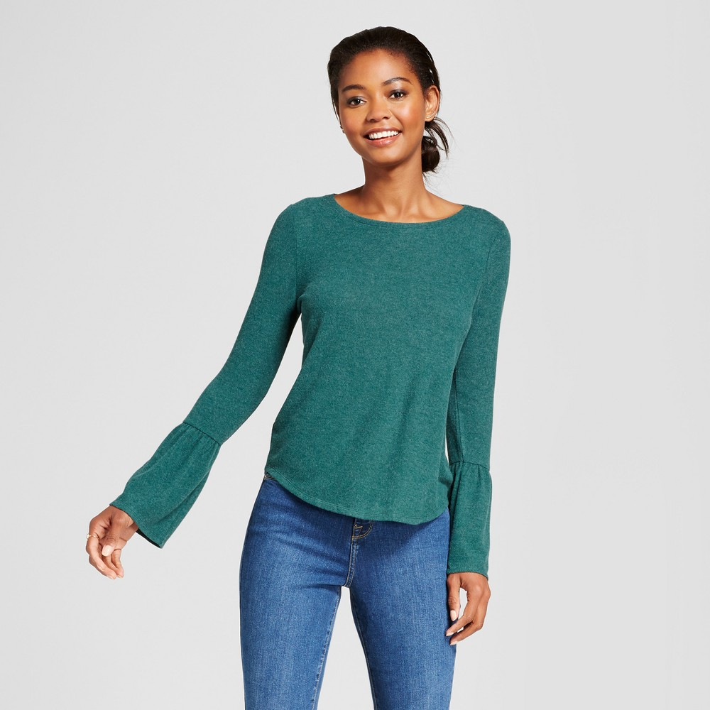 Womens Bell Sleeve Top - A New Day Dark Green L