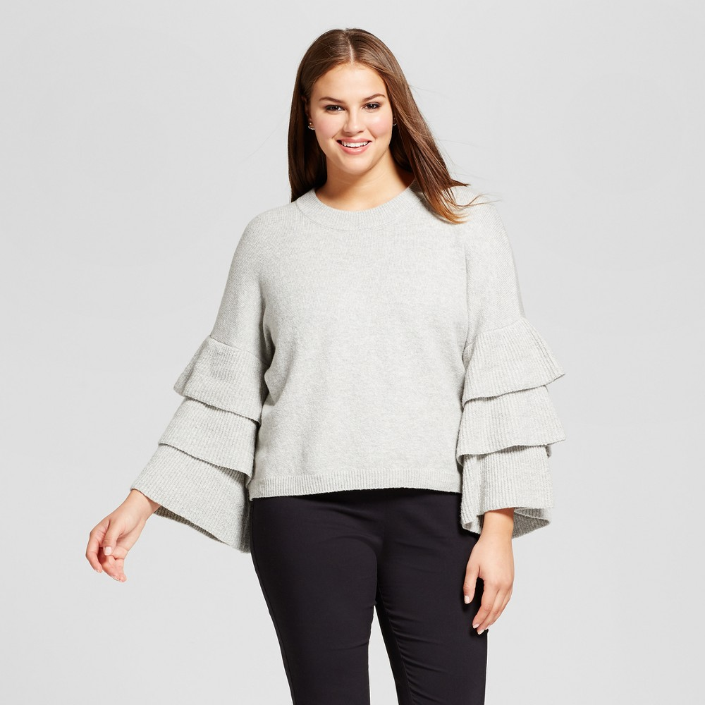 Womens Plus Size 3/4 Sleeve Tiered Ruffle Crew Sweater - Who What Wear Gray 2X
