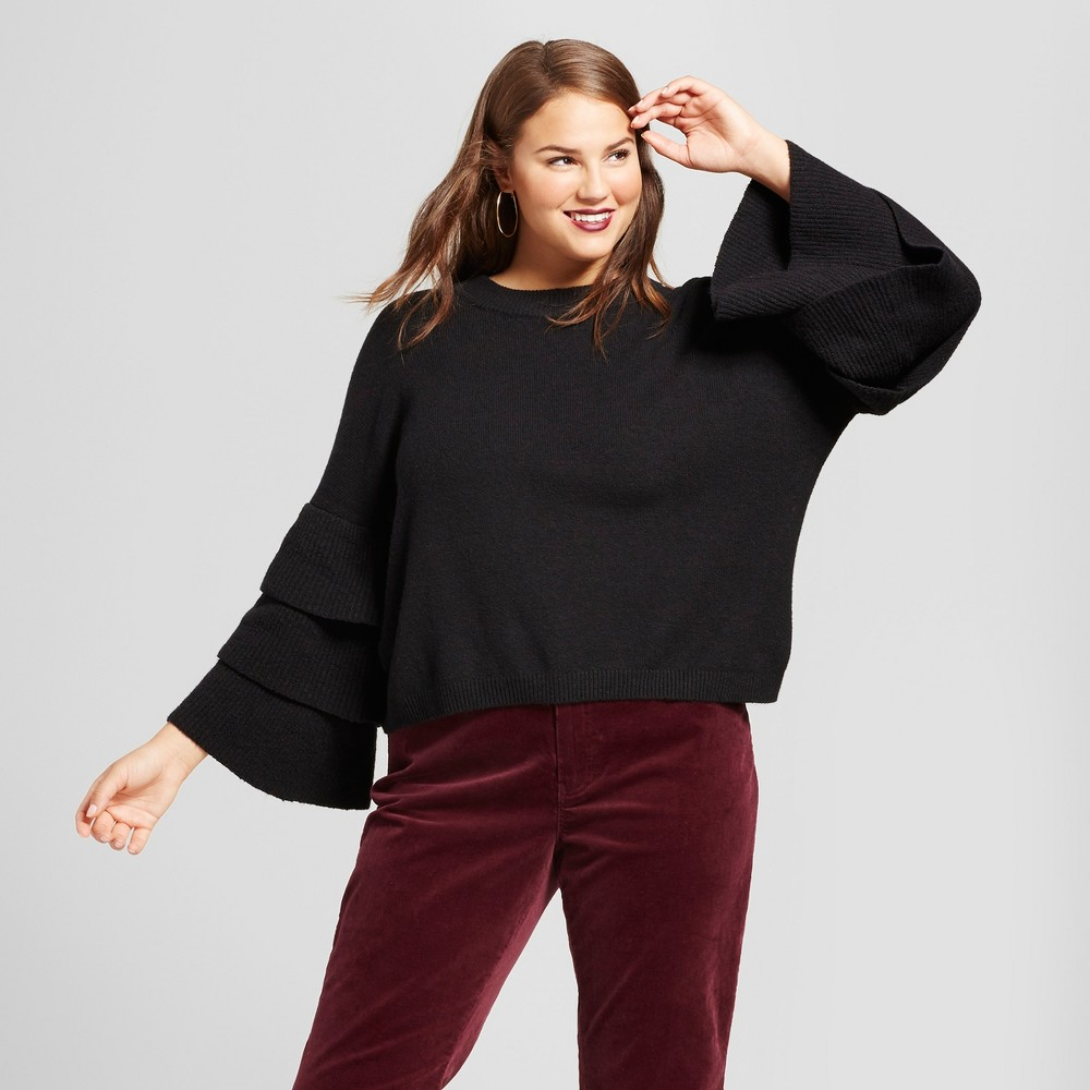 Womens Plus Size 3/4 Sleeve Tiered Ruffle Crew Sweater - Who What Wear Black 1X