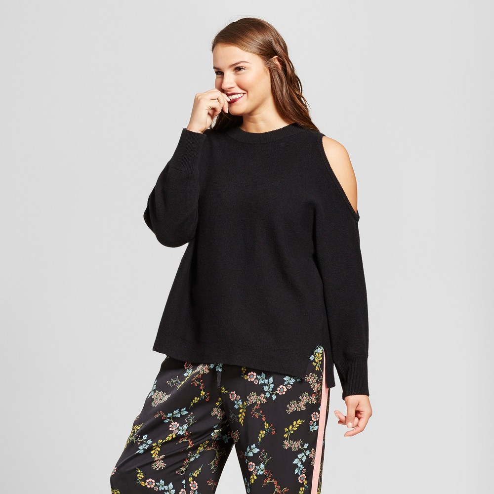 Womens Plus Size Long Sleeve Cut Out Shoulder Sweater - Who What Wear Black 4X