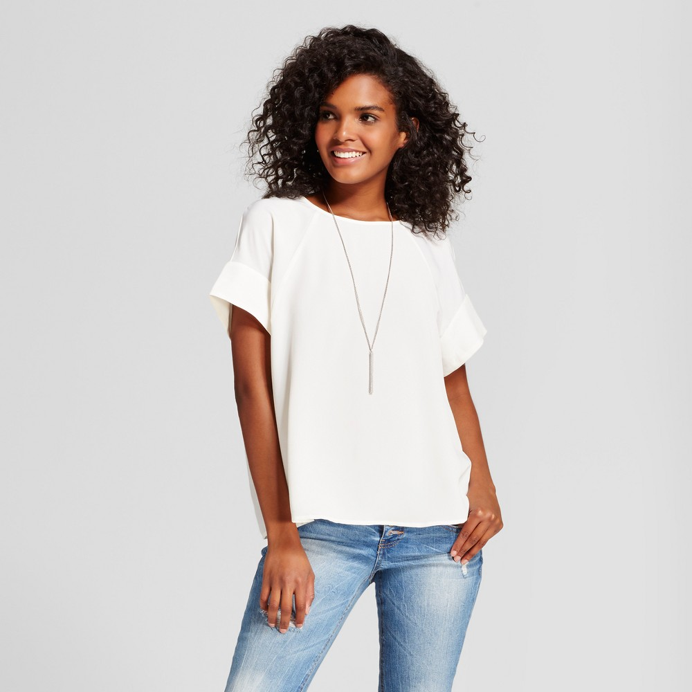 Womens Short Sleeve Top with Seaming Detail - Mossimo White XL