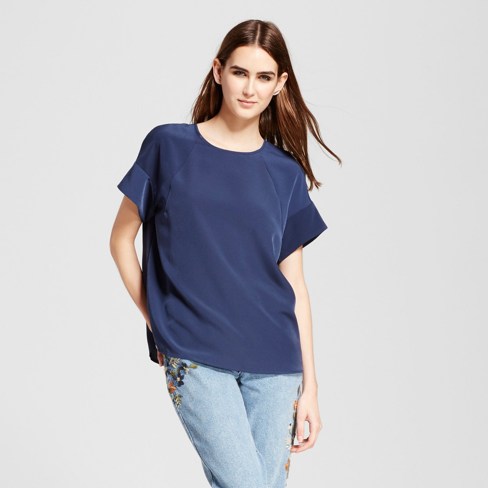Womens Short Sleeve Top with Seaming Detail - Mossimo Navy (Blue) XL