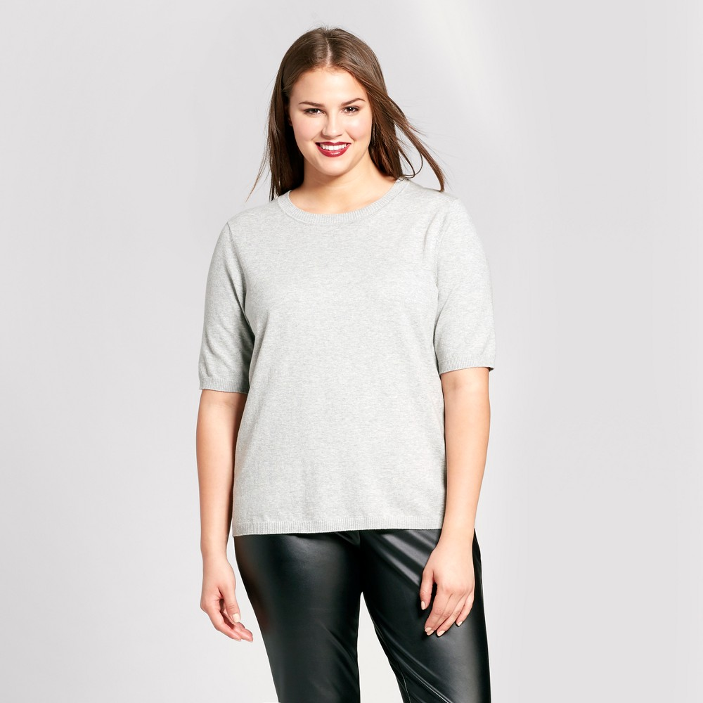 Womens Plus Size Elbow Sleeve Button Back Sweater - Who What Wear - Gray 3X