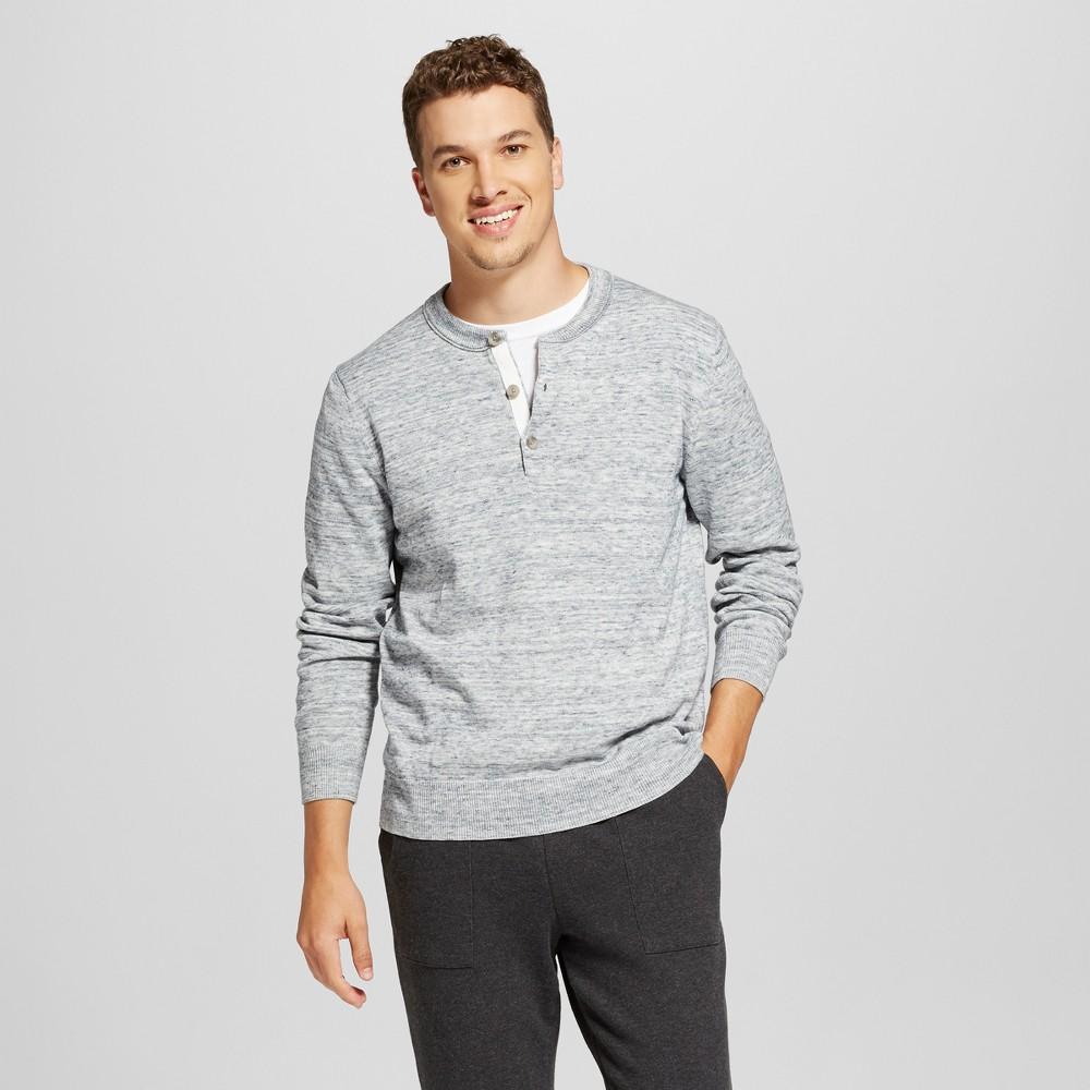 Men's Henley Sweater - Goodfellow & Co Light Heather Blue XL