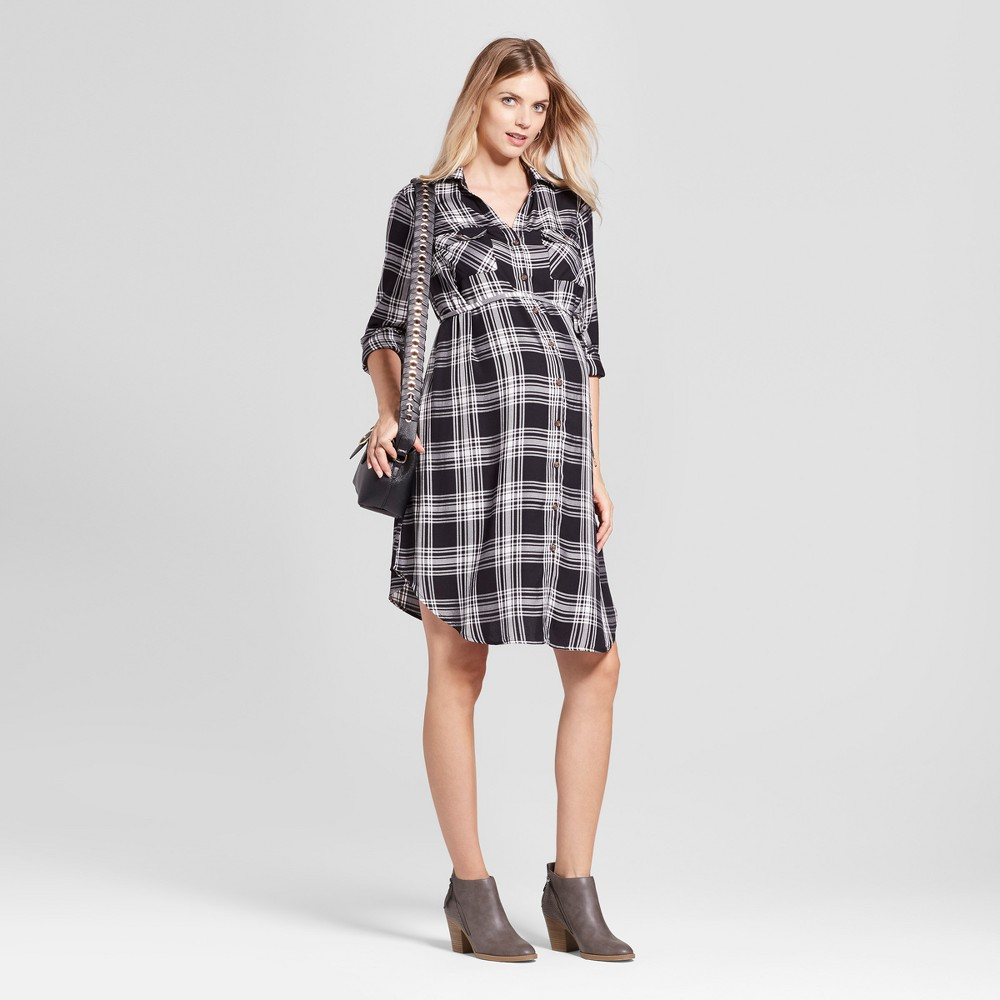 Maternity Plaid Shirt Dress - Isabel Maternity by Ingrid & Isabel Black/White Xxl, Infant Girls