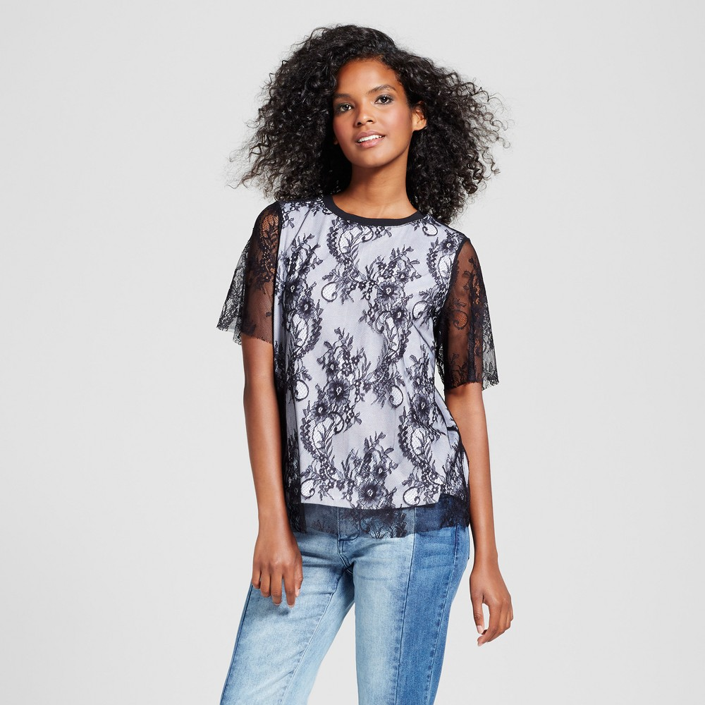Womens Layered Lace T-Shirt - Who What Wear Black L