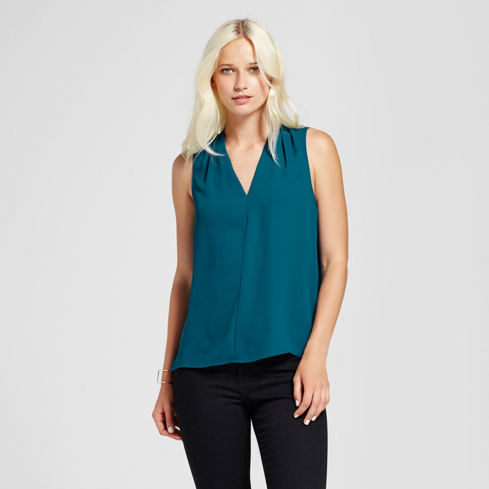 Womens Sleeveless V-Neck Tank Top - Mossimo Teal (Blue) Xxl