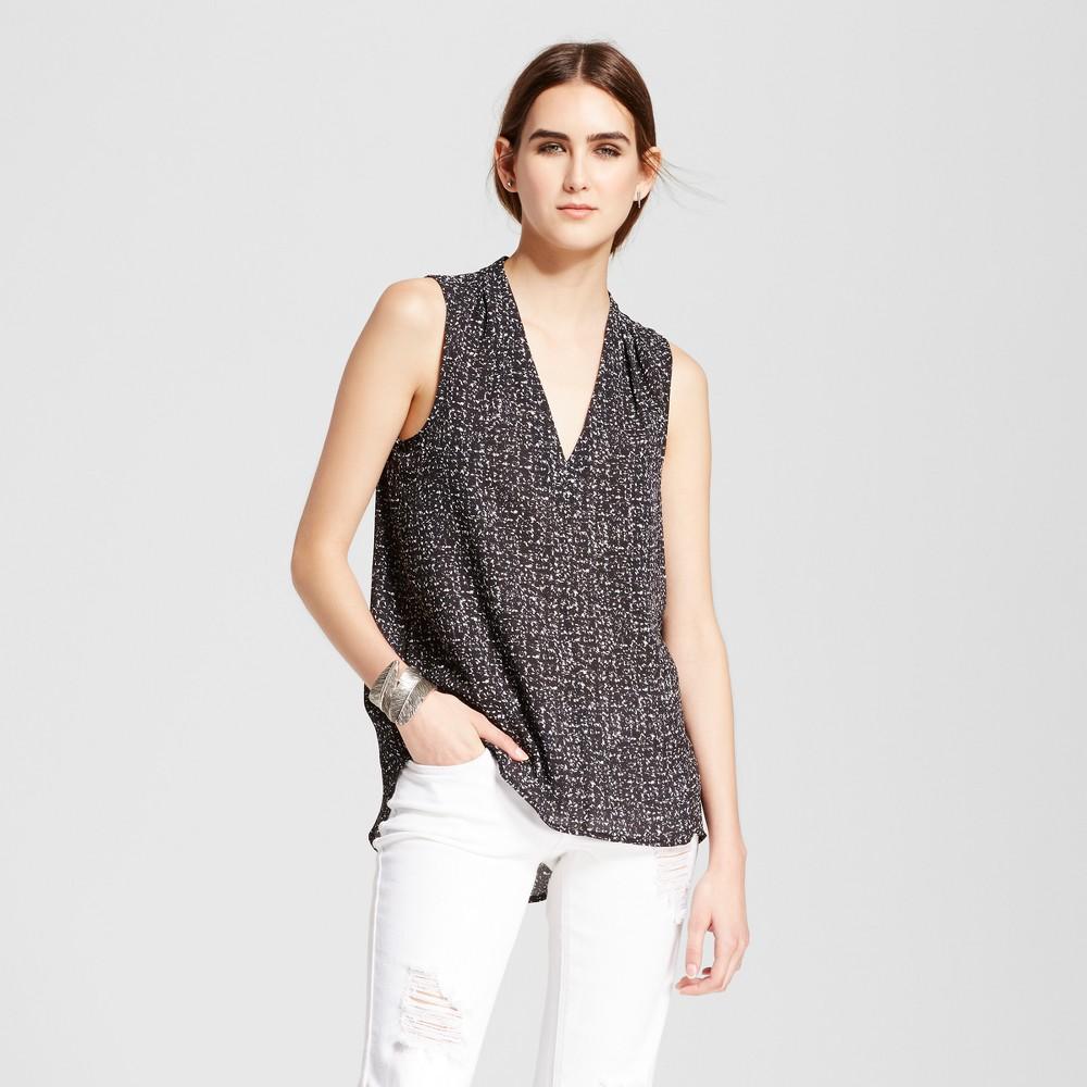 Womens Sleeveless V-Neck Tank Top - Mossimo Black/White Print Xxl