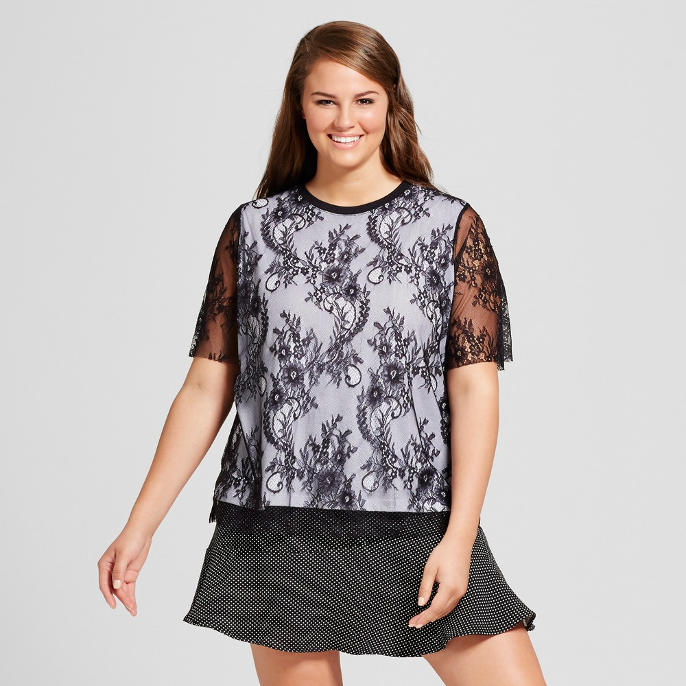 Womens Plus Size Layered Lace T-Shirt - Who What Wear Black 2X