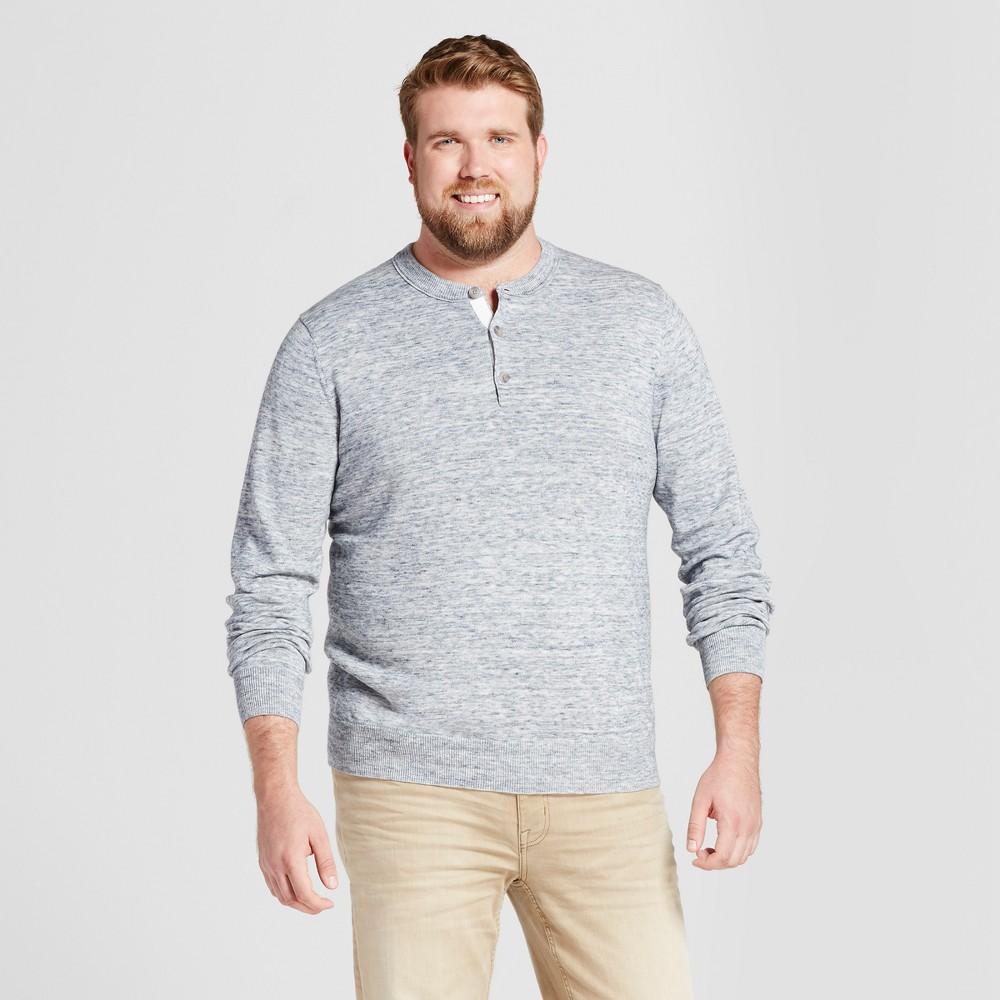 Mens Big & Tall Henley Sweater - Goodfellow & Co Light Heather Blue 4XB