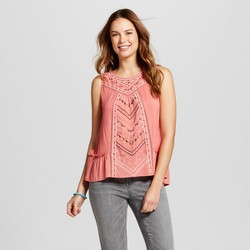 Women's Embroidered Ruffle Hem Tank - Knox Rose™ Coral