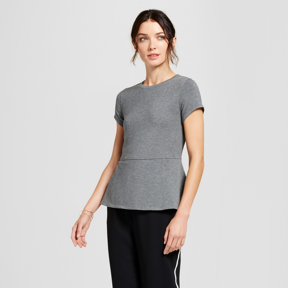 Womens Short Sleeve Peplum T-Shirt - A New Day Gray M