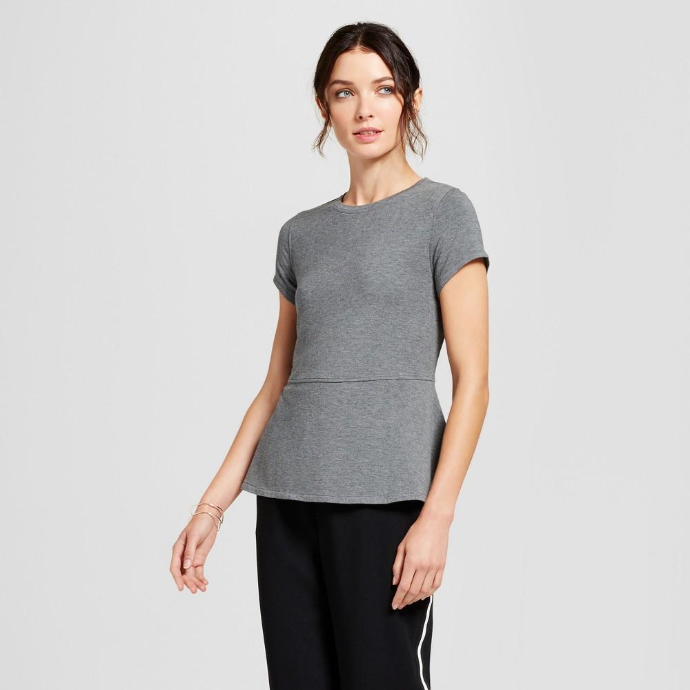 Womens Short Sleeve Peplum T-Shirt - A New Day Gray XL