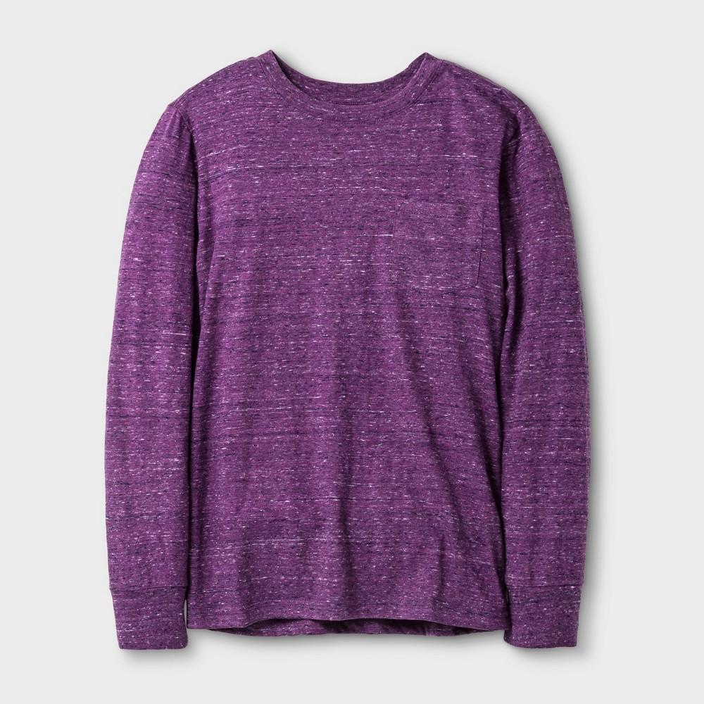 Boys Long Sleeve T-Shirt - Cat & Jack Heathered Purple M