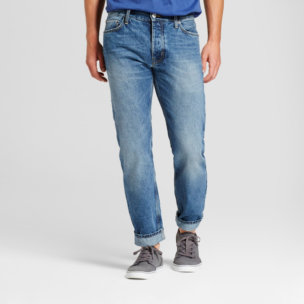 Mens Slim Straight Fit Selvedge Jeans - Goodfellow & Co Medium Wash 38x34, Blue