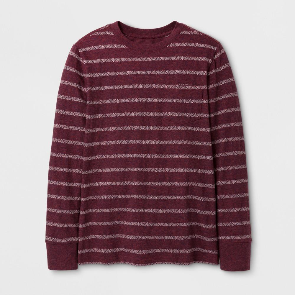 Boys Stripe Long Sleeve T-Shirt - Cat & Jack Maroon XL, Red