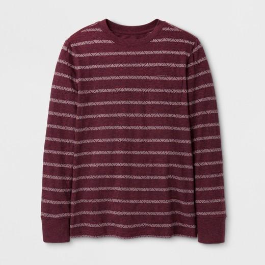 Boys' Stripe Long Sleeve T-Shirt - Cat & Jack™ Maroon : Target