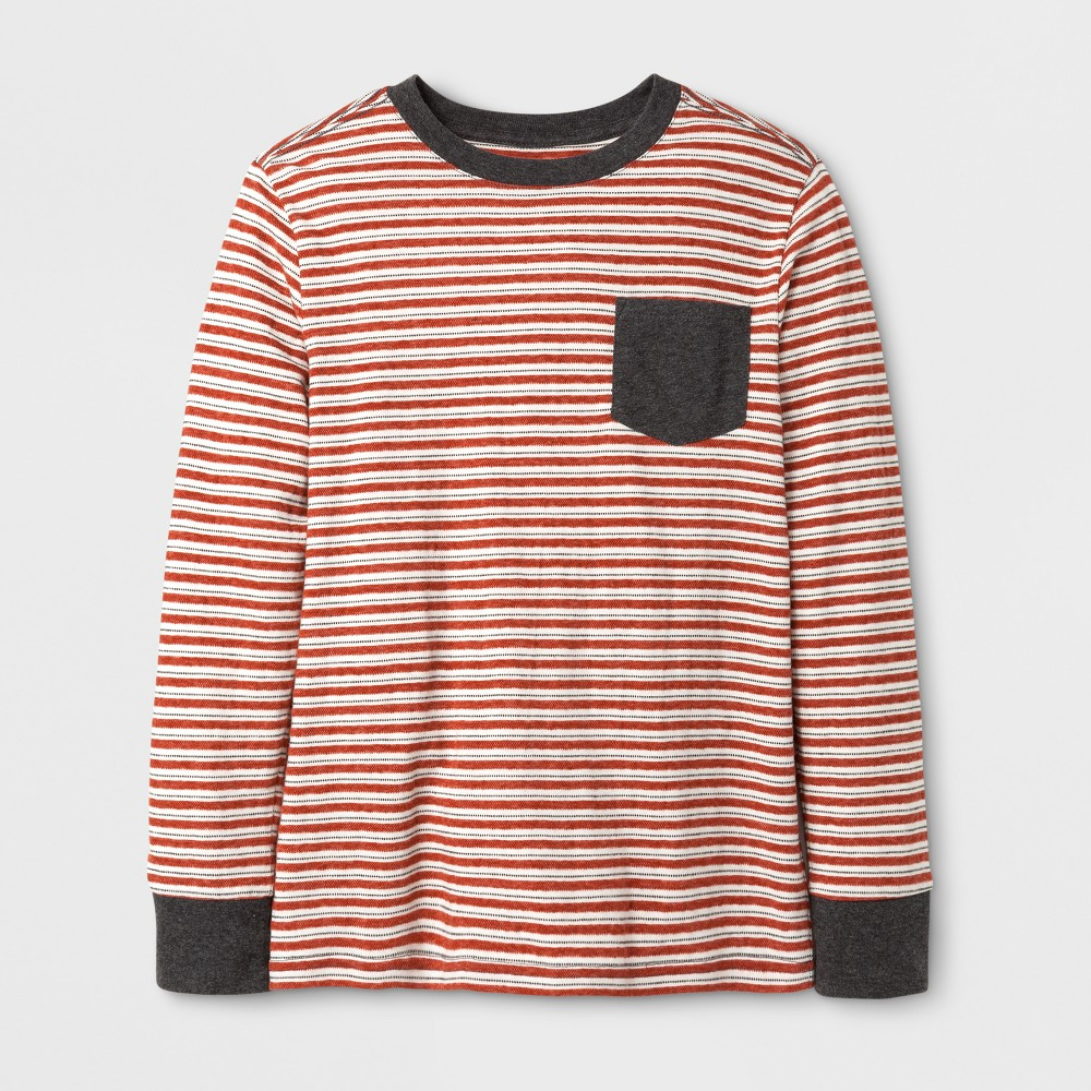Boys Stripe Long Sleeve T-Shirt - Cat & Jack Orange S
