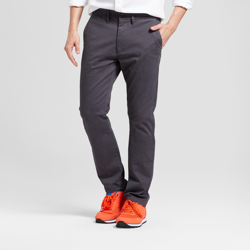 Mens Slim Fit Hennepin Chino Pants - Goodfellow & Co Dark Gray 42X30