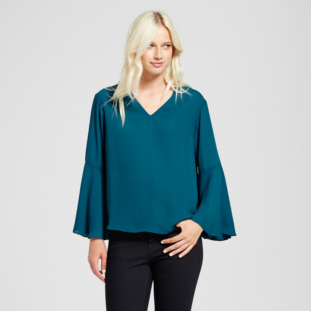 Womens V-Neck Bell Sleeve Top - Mossimo Teal L, Green