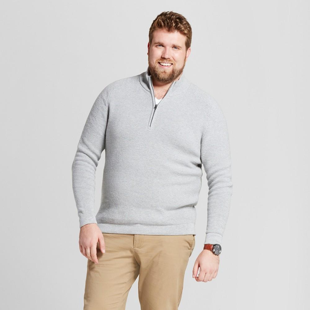 Mens Big & Tall Quarter Zip Sweater - Goodfellow & Co Gray Xlt
