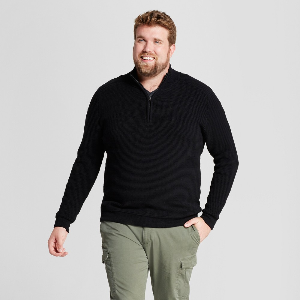 Mens Big & Tall Quarter Zip Sweater - Goodfellow & Co Black LT
