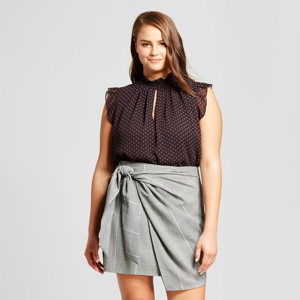 Womens Plus Size Crinkle Ruffle Blouse - Who What Wear Black Polka Dot X