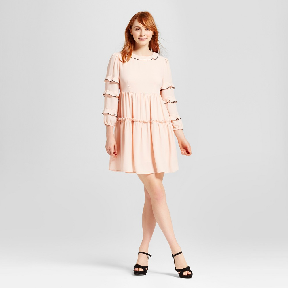 Womens Ruffle Dress With Contrast Trim - Who What Wear Pink M